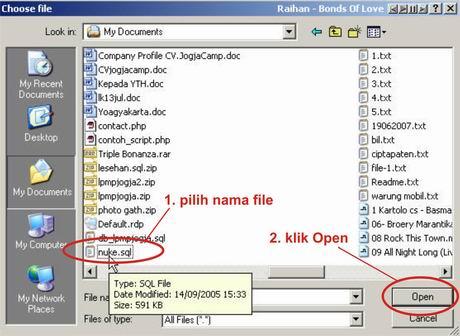 pilih file yang di import