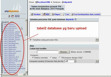 table sukses ter upload