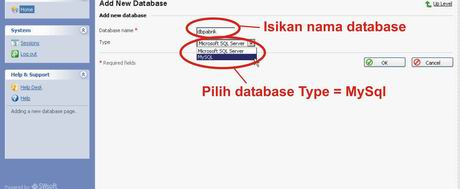 isi nama database