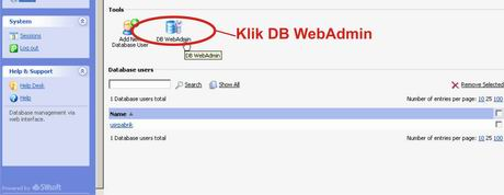 pilih DB WebAdmin