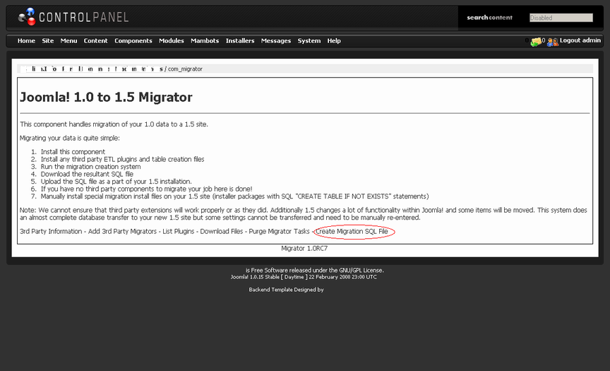 Migrasi Joomla J!1.0.x ke J!1.x