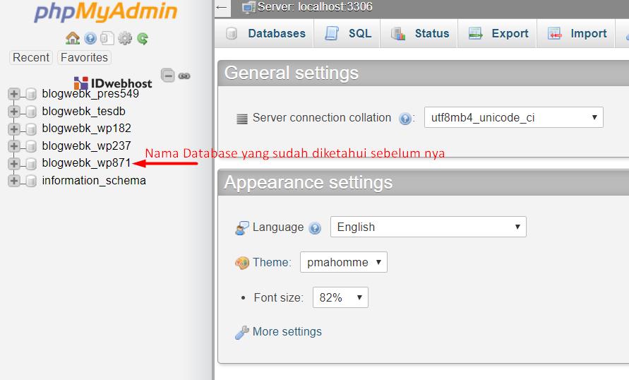 pilih nama database