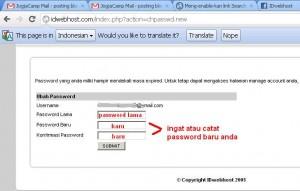 ganti password lama dengan yang baru