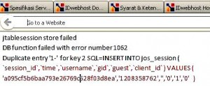 error ftablesession store failed di joomla