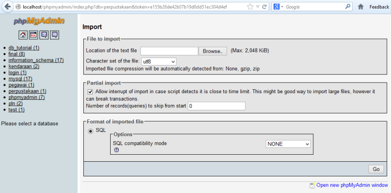 Cara Import Database Mysql ke PhpMyAdmin
