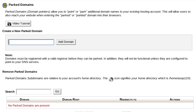 how to change domain from parking to