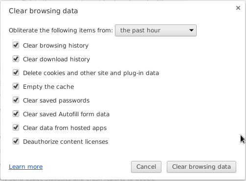 Clear browsing chrome