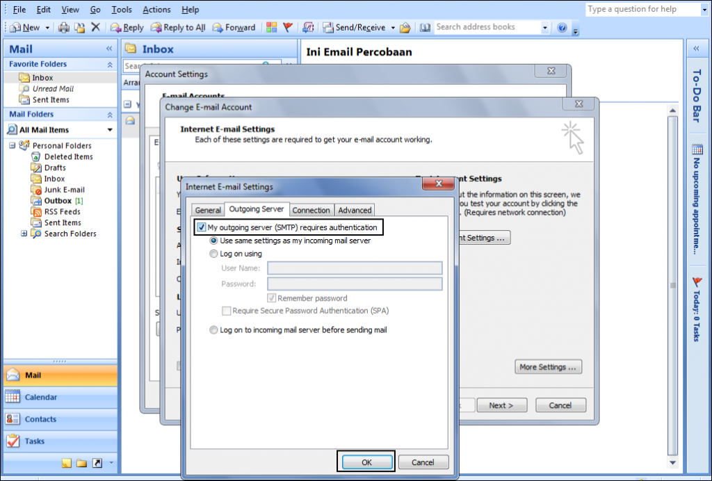 Mengaktifkan Opsi SMTP Authentication di Microsoft Outlook