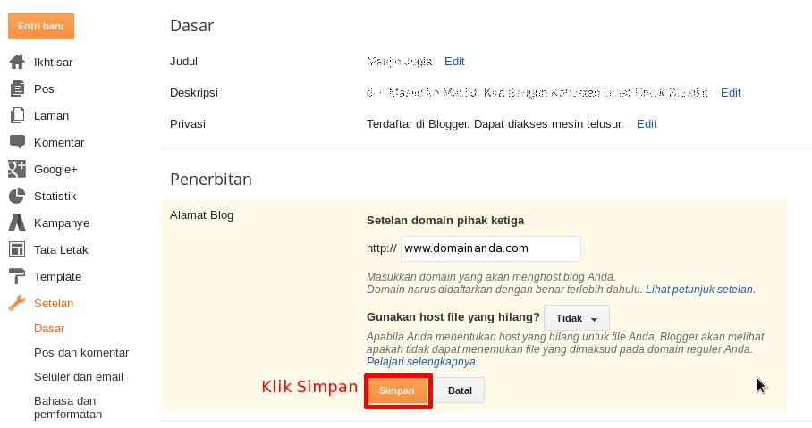 Simpan Domain Baru