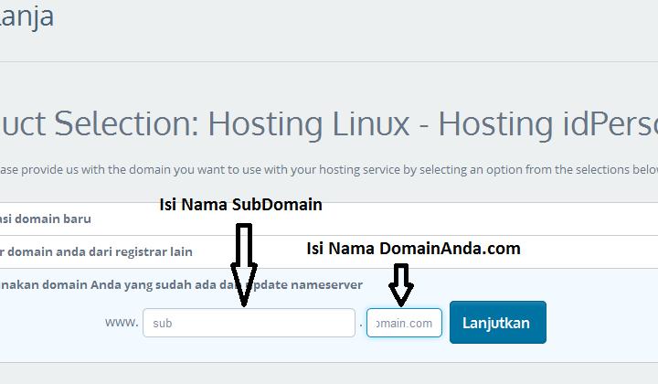 Cara Order Hosting untuk Sub Domain