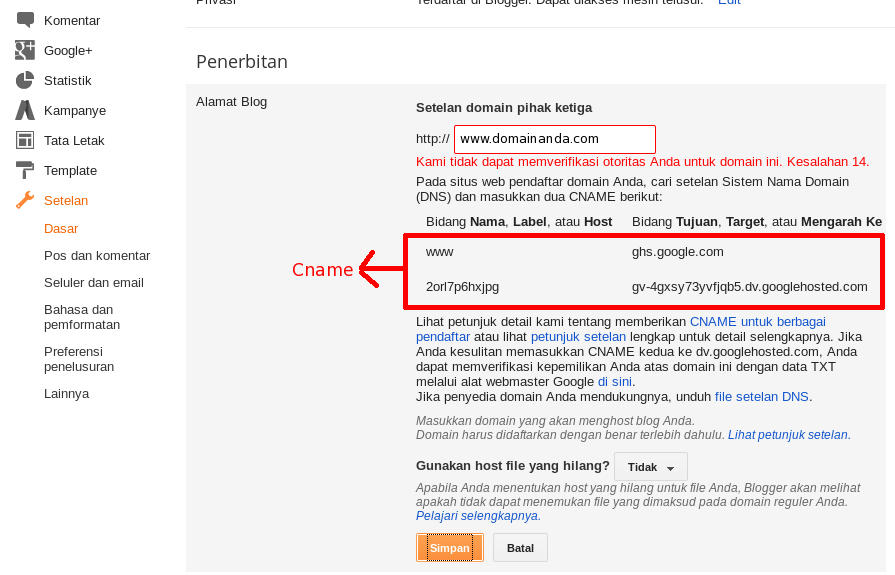 Cara Setting Domain Custom Ke Blogspot 4