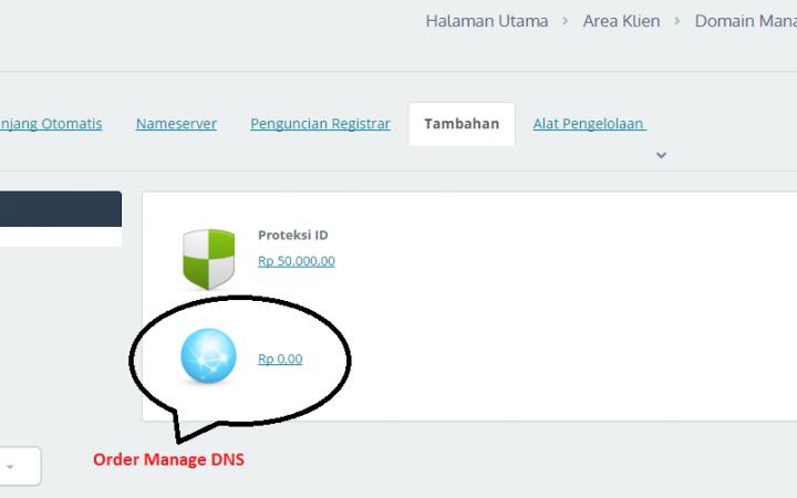 Cara Order Free Manage DNS pada Domain