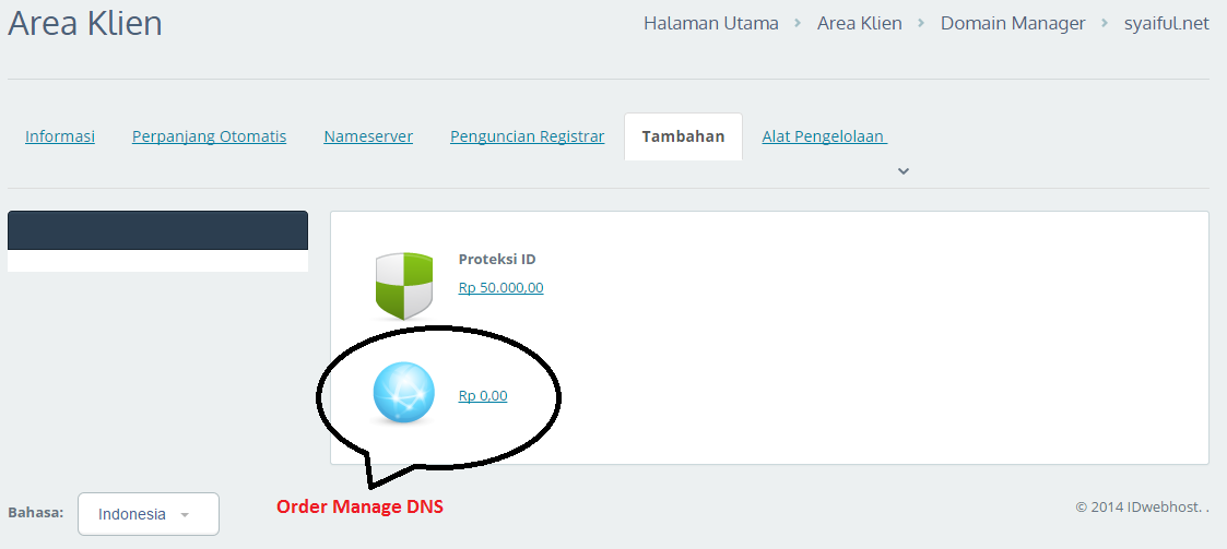 Order Manage DNS