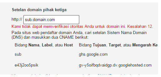 Setting Sub Domain ke Blogger