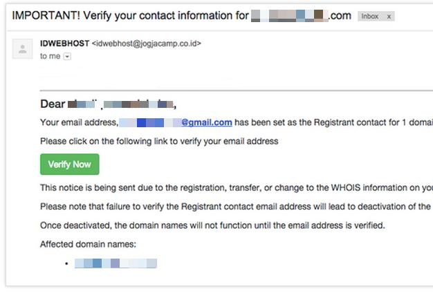 Email Verifikasi Domain dari Registrar