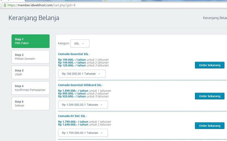 Cara Order SSL di IDwebhost