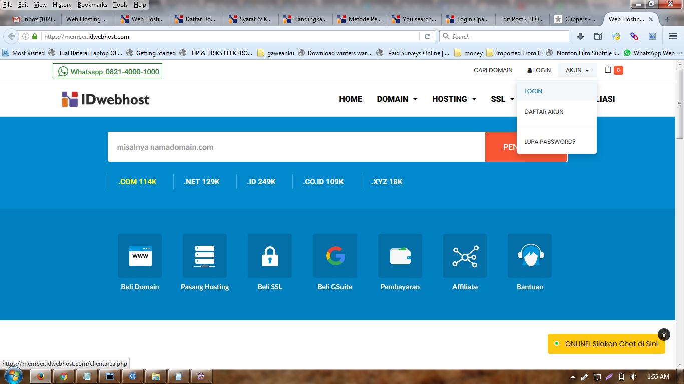 login member area idwebhost