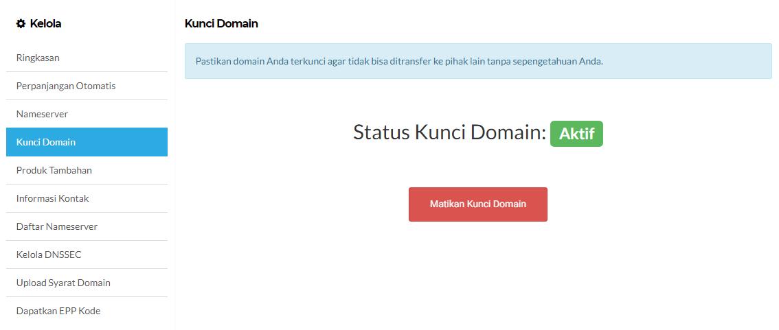 aktifkan kunci domain