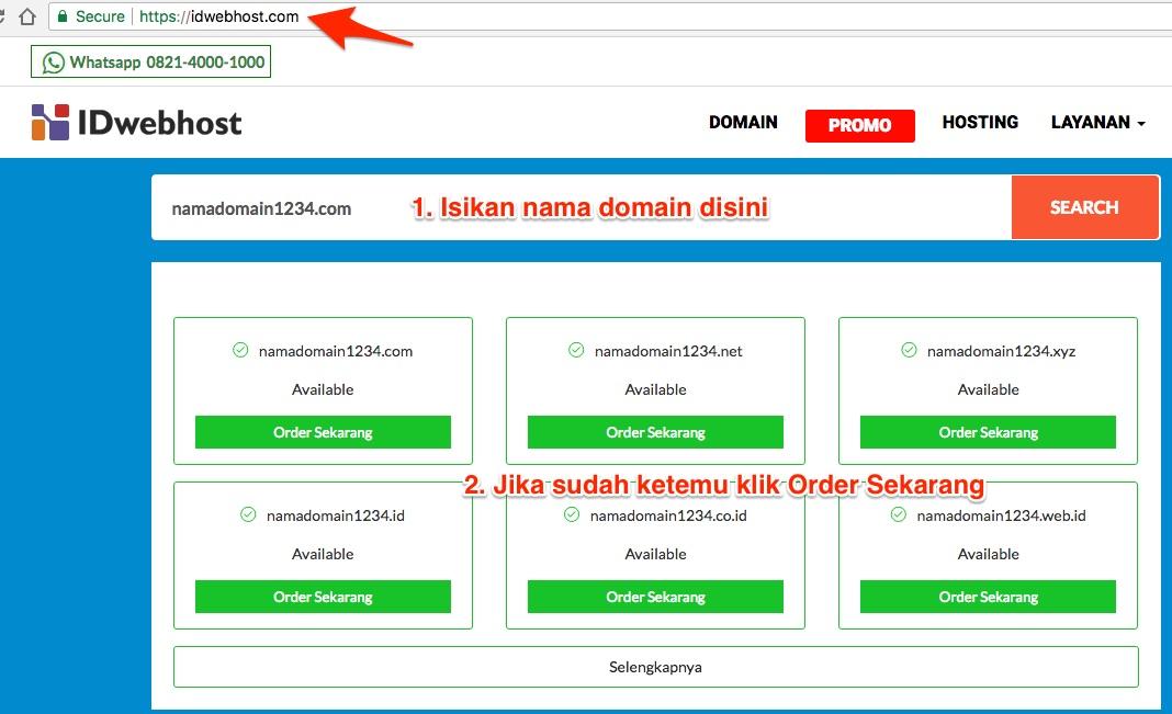 Cara Memesan Domain & Hosting Idwebhost
