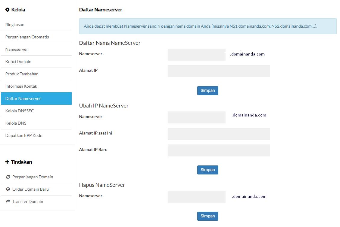 input data Daftar Nameserver