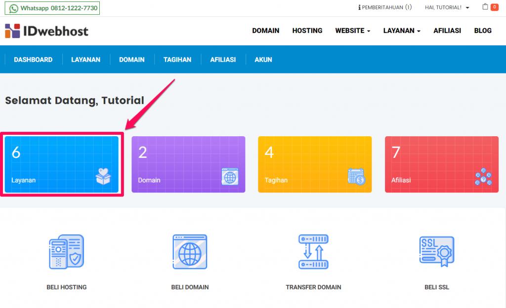 Upgrade paket hosting idwebhost