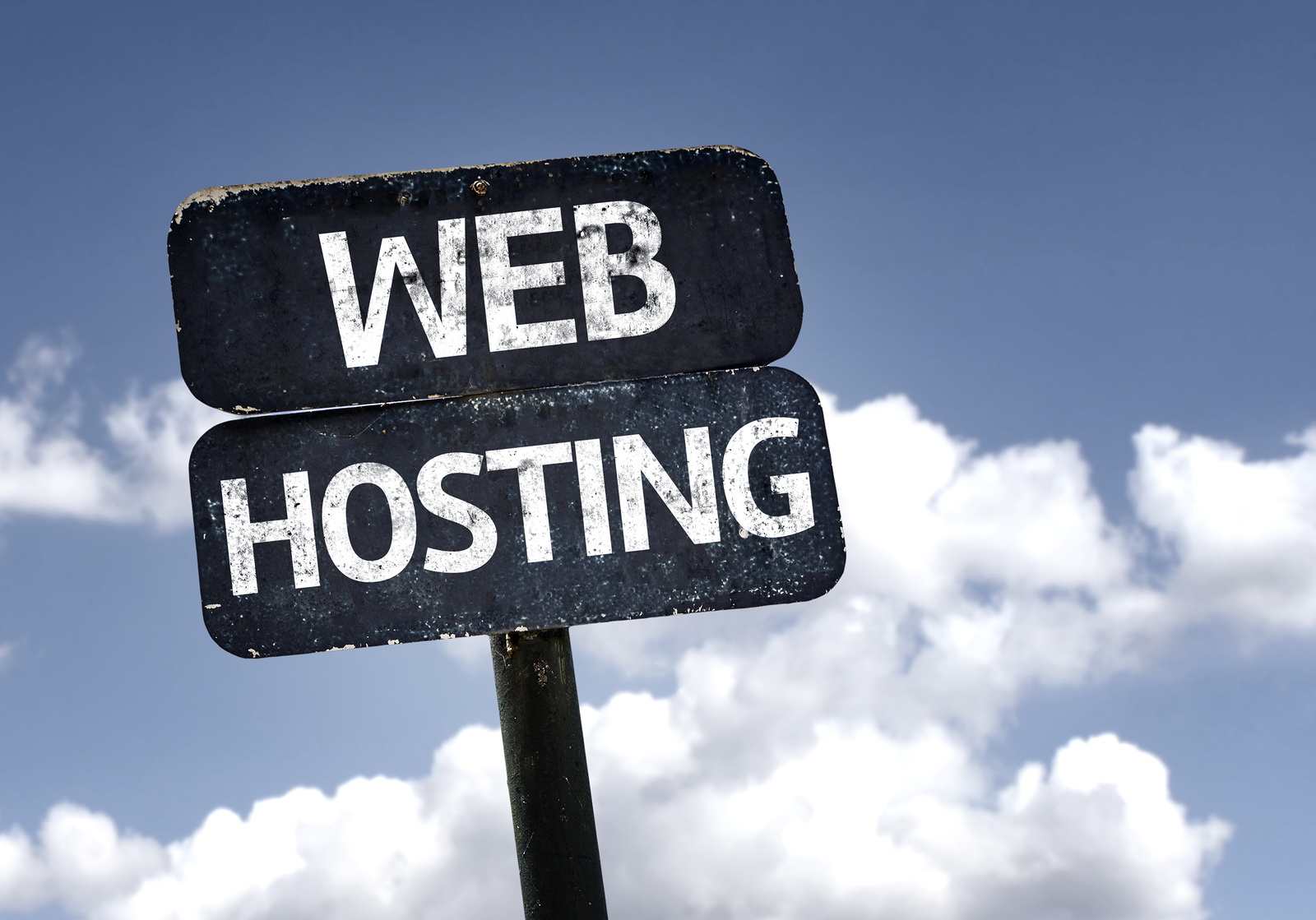 Web Hosting sign with clouds and sky background