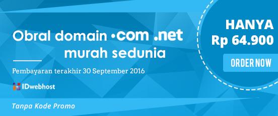 Obral Domain .COM dan .NET hanya Rp 64.900