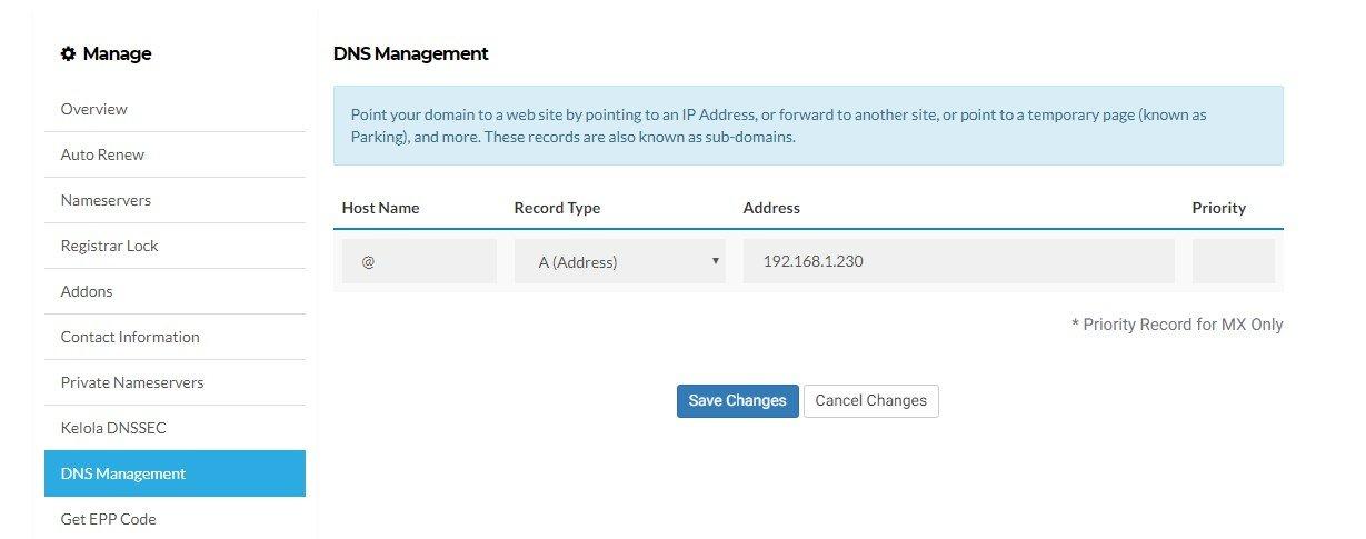 simpan DNS Management
