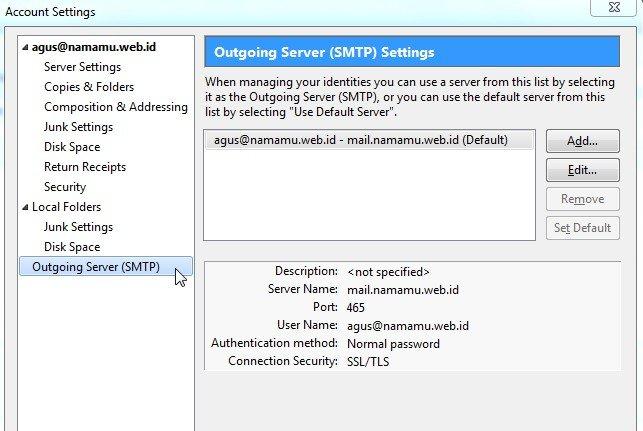 Outgoing Server SMTP