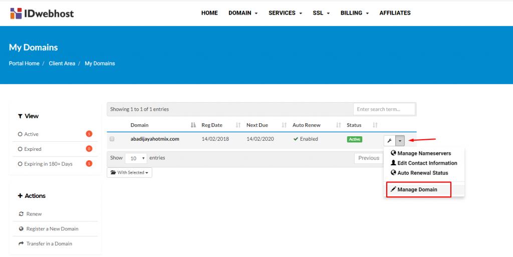 setting manage domain