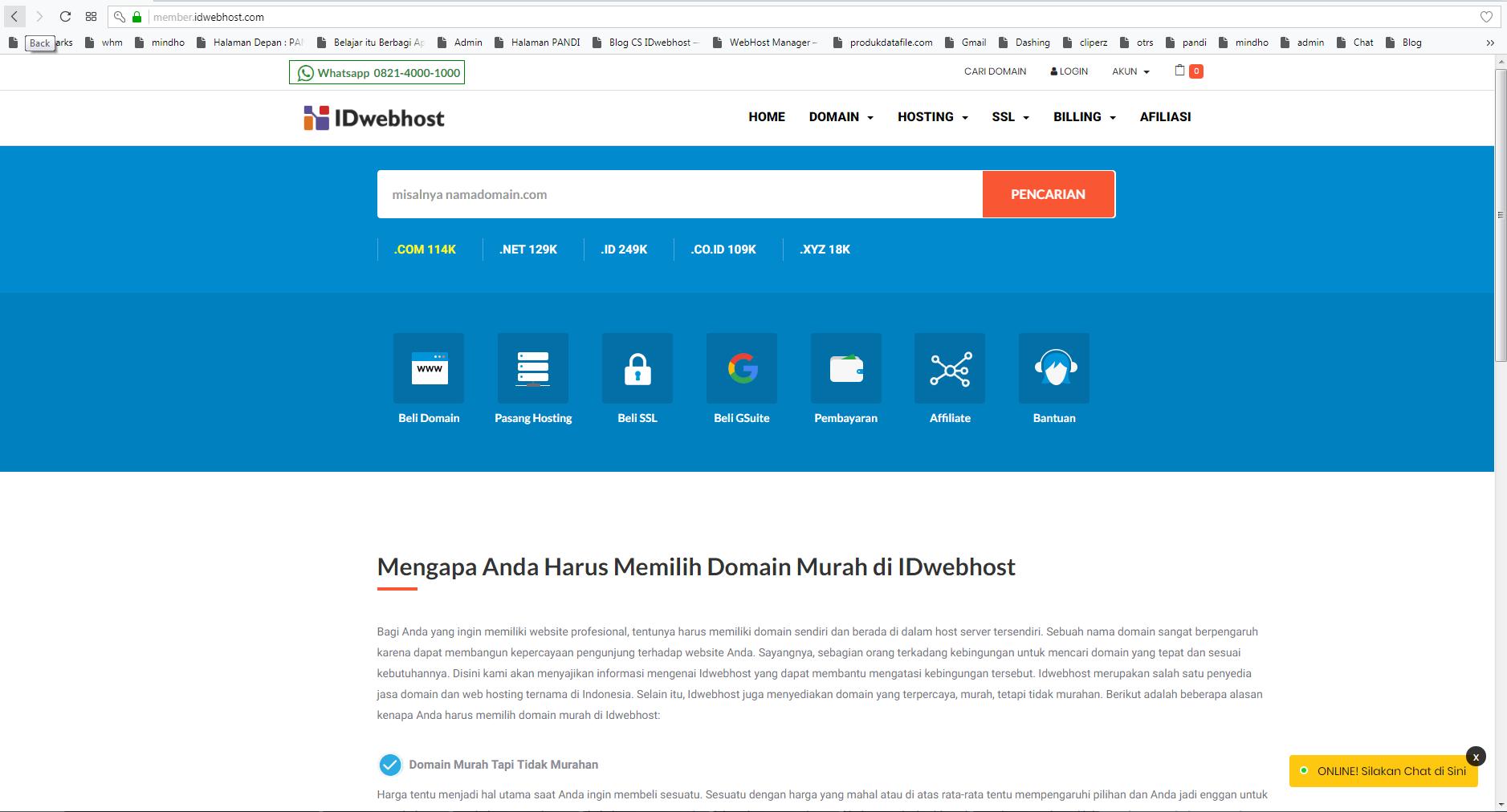 Order Transfer Domain di Halaman Member Idwebhost.com
