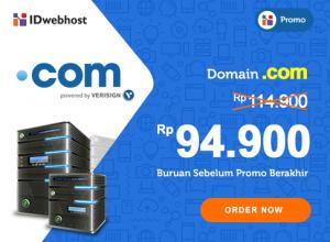 Promo Domain .com hanya 94.900 IDR Buruan Sebelum Habis [BERAKHIR]