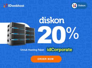 Diskon Hosting 20 % idCorporate Plus Gratis Domain