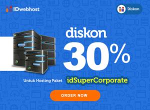 Diskon Hosting 30 % idSuperCorporate Plus Gratis Domain