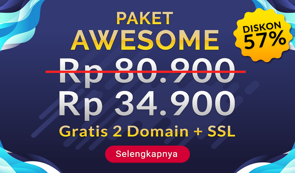 Diskon Hosting 57% Plus Gratis Domain