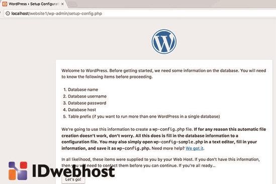Tampilan Konfigurasi WordPress
