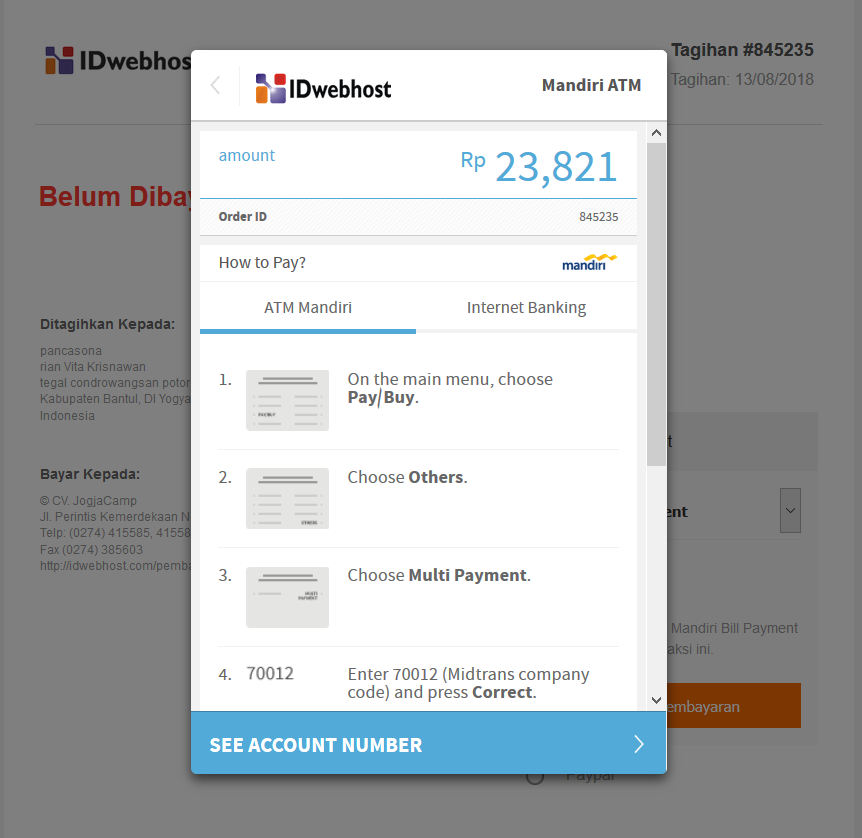 Pembayaran Virtual Account di IDwebhost