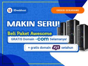 IDwebhost kini Gratis Domain Selamanya