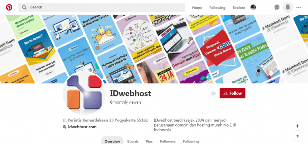 Pinterest IDwebhost, Akun Sosial Media Kami Yang Terbaik