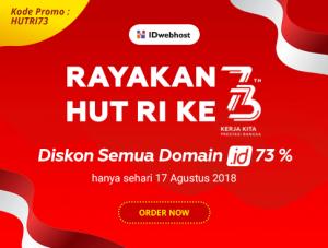 Diskon 73 % Domain .ID spesial di hari Kemerdekaan