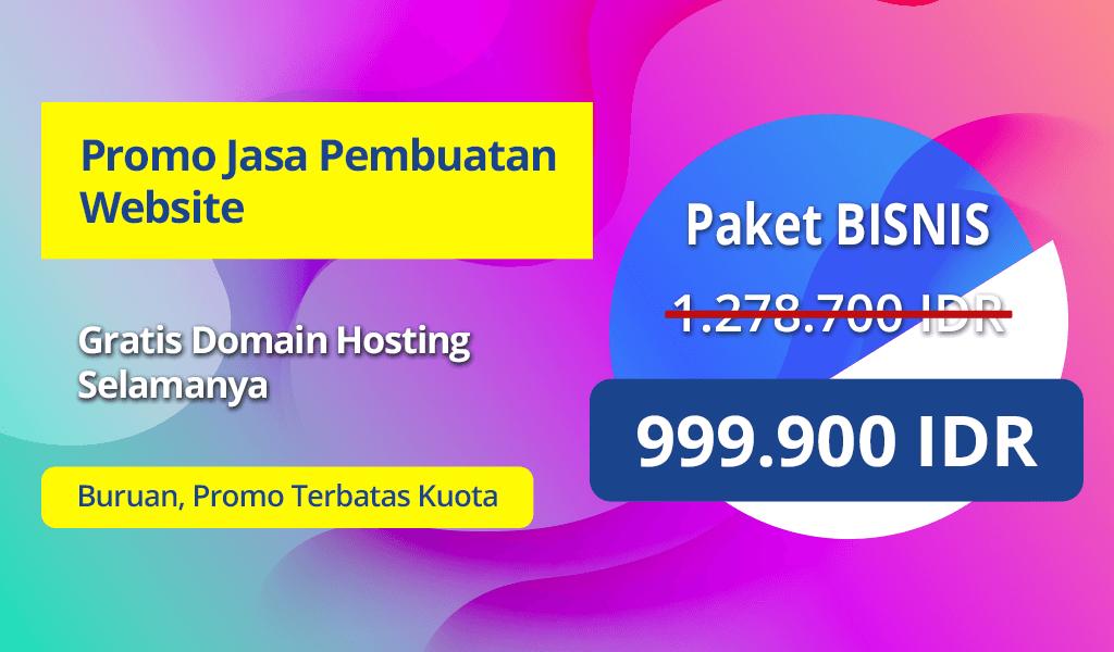 Promo Jasa Pembuatan Website Paket Bisnis hanya 999.900 IDR