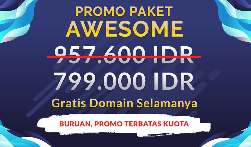 Promo Hosting Awesome 2 Tahun hanya 799.000 IDR