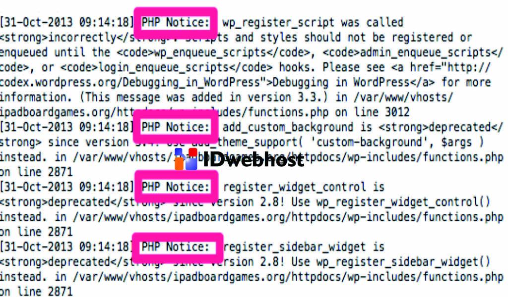 Pemberitahuan Kode PHP yang Tidak Digunakan Lagi