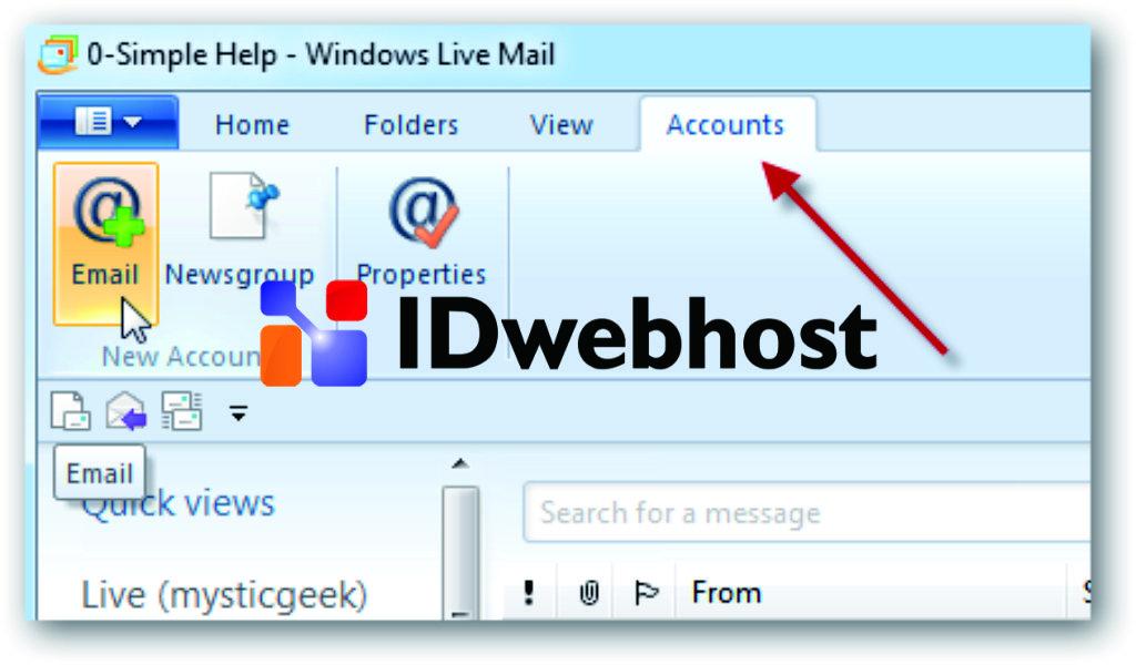 Setting Windows Live Mail Untuk Menambahkan Akun