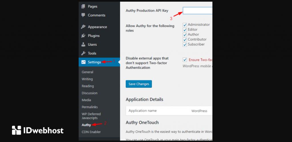 API key code authy