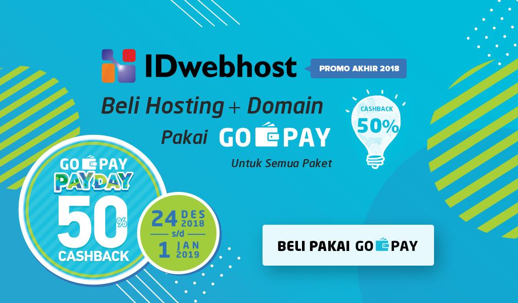 Promo Akhir 2018! Beli Hosting Pakai GO-PAY Dapat Cashback 50%