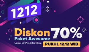 [ KUOTA TERPENUHI ] Promo 12.12 !! Diskon 70% Awesome 1 Tahun Untuk 50 Pelanggan Baru