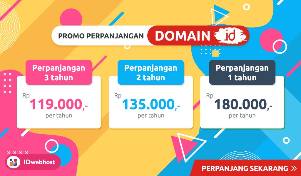 Promo Perpanjangan Domain ID 119.000 Diperpanjang