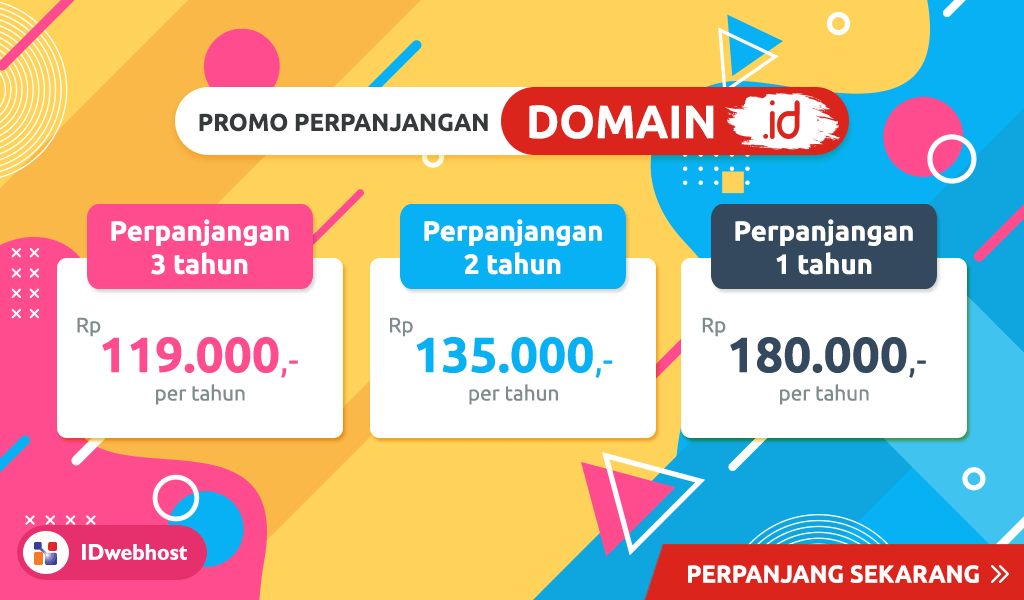 Promo Perpanjangan Domain ID 119.000 Buruan Serbu