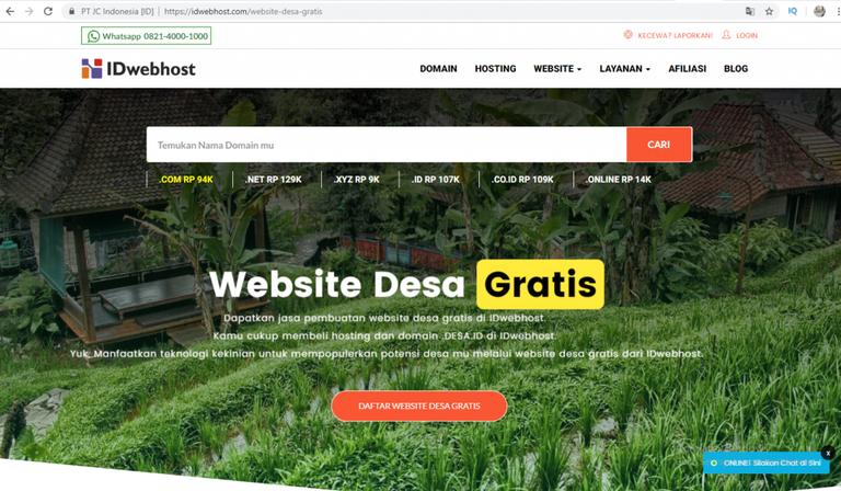 Dapatkan Jasa Pembuatan Website Desa Gratis di IDwebhost